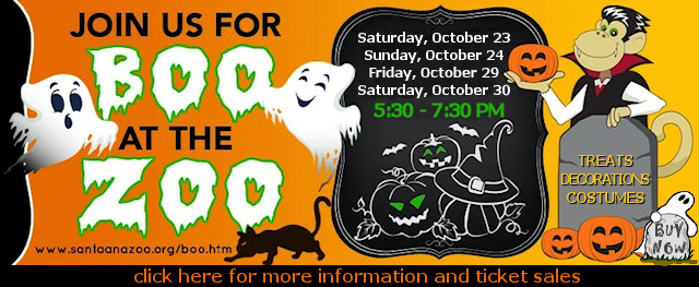 Boo at the Santa Ana Zoo is Open this year for kids and families for Halloween! Trick-or-treating, Halloween decorations, costumes and more!